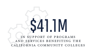 41.1 million in support of programs and services benefiting the california community colleges